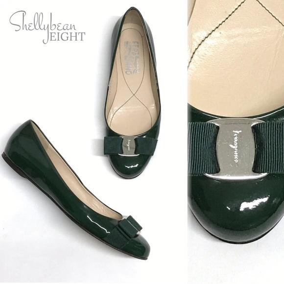 2051b717d8ad0 Salvatore Ferragamo Shoes | Sal Ferragamo Green Varina Bow Logo ...